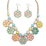 The Starry Night Six Petals Diamond Accented Match Earrings Round Color Crystal Stone Gold Chain Necklace for Women