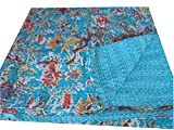 Cotton Bird Print Hand Kantha Bedcover Vintage Reversible Bedspread Decorative Queen Bed Sheet, Size 90 X 108 Inches