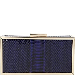 La Regale Snakeskin Framed Clutch, Navy, One Size