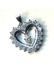 AD Heart Shape 7grams Sterling Silver Ladies Pendant With Red Rose Box Packing