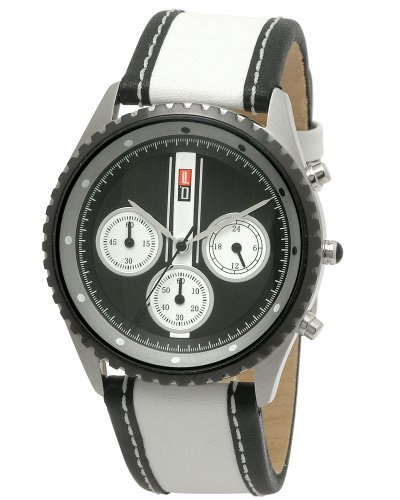 DFactory Men's DFT002YBW Red Label Black Dial Leather Chronograph Watch