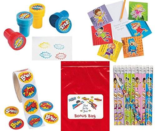 Superhero-148-pc-Party-Favors-Bundle-Kit-Pack-Enough-for-12-Kids-Boys-or-Girls-Stickers-Stamps-Notepads-Pencils-Toy-Assortment
