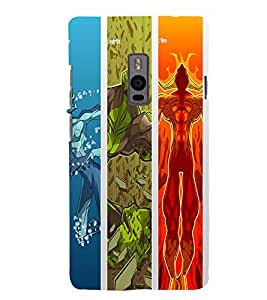 printtech Water Earth Fire Design Back Case Cover for OnePlus Two / One plus two / Oneplus 2 / One Plus 2