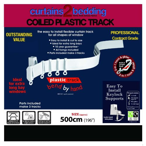 """500Cm (196"""") Plastic Curtain Track, Strong, Bendable Track, For Bay Windows & Straight Windows, Pieces For 3 Tracks. Special Offer Free """"How To Fit Guide"""" Included By Curtains2Bedding ®"""
