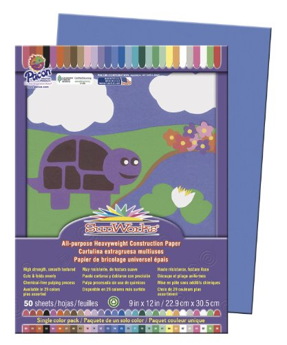 "SunWorks 7403 Construction Paper, 9"" x 12"", 50 Sheets/Pack, Blue - 1"