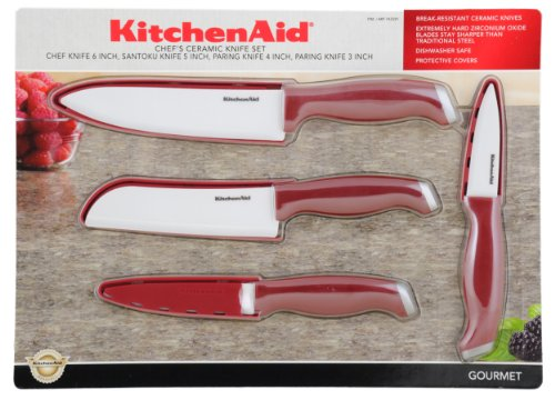 Kitchenaid Chef'S Ceramic Knife Set, Red