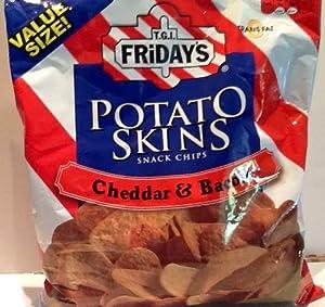 T.G.I Fridays Potato Skins Snacks Chips Cheddar Bacon (16oz Each Bag) PACK of 4
