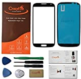 CrazyFire® Free Shipping Black New Front Outer Lens Glass Screen Cover Replacement For Samsung Galaxy S4 SIV I9500 i337 L720 M919 i545+Adhesive+Tools+CrazyFire Instruction Manual+CrazyFire Professional Box