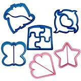 SySrion? Sandwich Crust Cutters Cake Bread Biscuit Food Cutter Mold, Set of 6 Fun Shapes - Dinosaur, Dolphin, Heart, Puzzle, Star and Butterfly Bytes, Blue and Pink