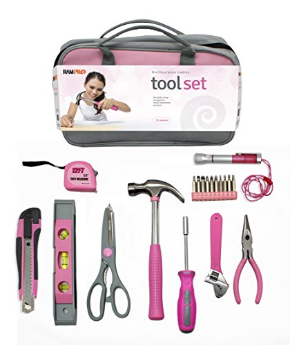RamPro 11 Piece Pink General Hand Tool Set with Cute Pink Zippered Tool Kit - (Cute Gift for Girls, Ladies,