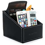 Amariver Black Pu Leather Remote Control/controller Tv Guide/mail/cd Organizer/caddy/holder