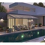 Hochwertige Aluminium Terrassenüberdachung, Terrassendach  Seitenwand passend für 3m Tiefe - weiß