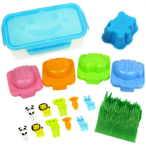 Kilofly Lunch Box, 2 Compartment, Smile, Blue + Silicone Cup, 4 Egg Shapers, 10 Picks Forks, 100 Sushi Grass