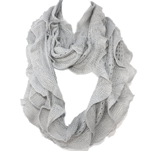 Silver Fever® Elegant Soft Woven Infinity Loop Figure Eight Endless Scarf Wrap (Light Gray)