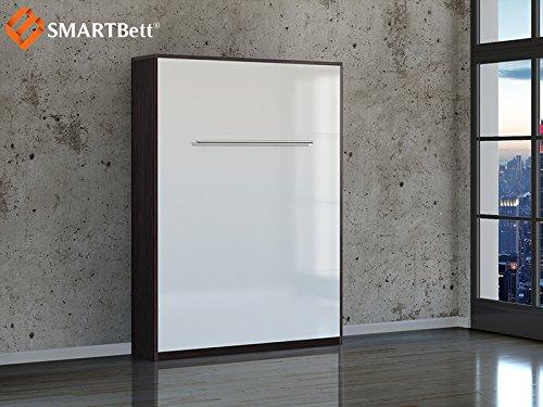 Smartbett Klappbett Murhy bed Foldaway bed 140 cm Vertikal in der Farbe Wenge / WEiß Hochglanzfront