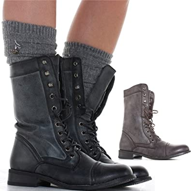 Luxury Womens Combat Military Boots Lace Up Buckle New Fashion Motorcycle Shoes Size | EBay