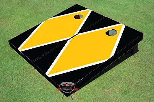 Yellow and Black Matching Diamond Corn Hole Boards Cornhole Game Set by All American Tailgate
