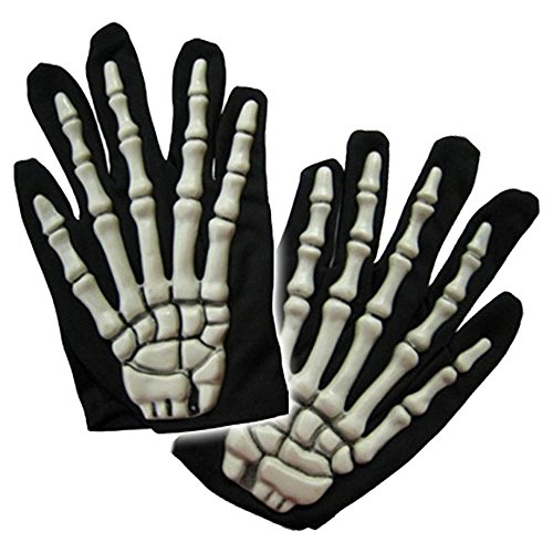Mens Halloween Fancy Dress 3d Skeleton Zombie Bones Gloves - One Size