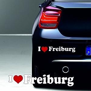 """""""I love Freiburg"""" ca. 20 x 5 cm hochwertiger Autoaufkleber Aufkleber 2 farbig freigestellt ohne Hintergrund Sport Hobby Sticker Stadt Ort Name"""