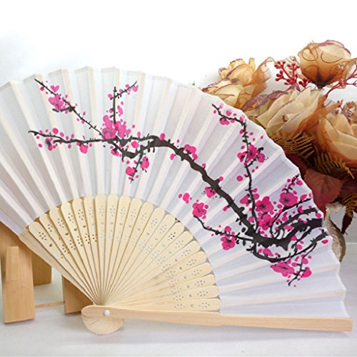 Mikey Store 1PC Folding Fan Delicate Japanese Plum Blossom Design Silk Costume Party (White 1)