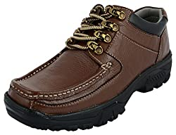 LookaMartin Mens Brown Leather Trekking and Hiking Shoes (7 UK)