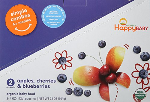 Happy Baby Organic Stage 2 Baby Food, Simple Combos, Apples, Cherries & Blueberries, 4-Ounce Pouches (Pack of 8)