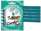 Bic Comfort Twin Sensitive Disposable Razors for Men,  5 Count