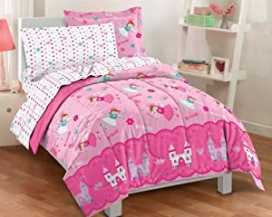 Magical Princess Ultra Soft Microfiber Twin Comforter Bedding Set, Pink Multi