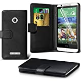 Gadget Giant® HTC Desire 510 Black Leather Wallet Flip Case Cover Protector & Screen Protector Film