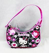 Handbag - Hello Kitty - Black Flower Bow New Hand Bag Purse Girls 84013