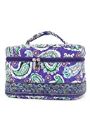 51FOjAUqisL. SL160 Belvah Quilted New Paisley (L) Cosmetic Bag with Jewely Case (Purple)