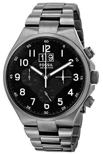 Fossil Qualifier - Reloj de cuarzo para hombre, correa de acero inoxidable color gris