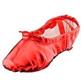 Girl's Pu Ballet Dancing Shoes with Split Soft Sole,Red,Toddler 7M US