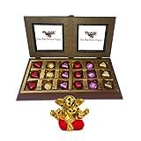 Chocholik Luxury Chocolates - 18pc Luxury Chocolate With Smartly Sparkle Gift Wrapped With Small Ganesha Idol...
