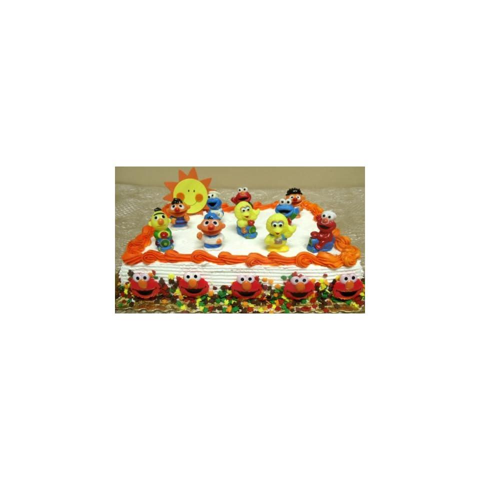 17 Piece Sesame Street Birthday Cake Topper Set Featuring 2