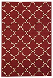 Anti-Bacterial Rubber Back AREA RUGS Non-Skid/Slip 3x5 Floor Rug | Red Moroccan Trellis Indoor/Outdoor Thin Low Profile Living Room Kitchen Hallways Home Decorative Traditional Rug