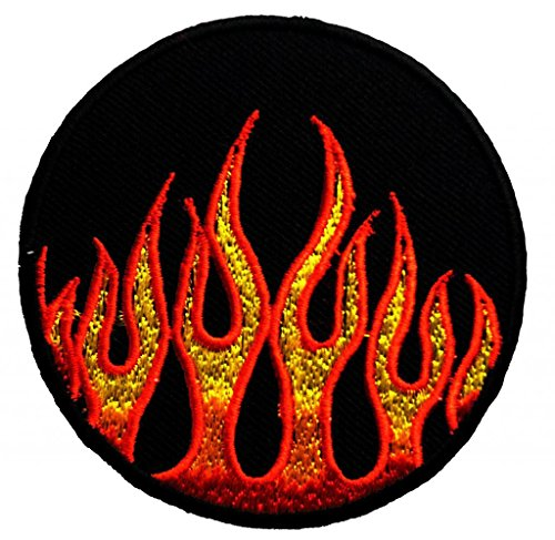 Flames Fire On Fire Biker Patch '' 7,5 x 7,5 cm ''- Toppa Patches Toppa Toppa Termoadesiva Toppa Termoadesiva Per Stoffa Ricamato Toppa Embroidered Patch Applicazioni Applique Catch The Patch