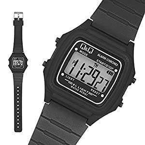 Q & Q - by Citizen Sportarmbanduhren - Silikon Digital Armbanduhr - Schwarz / Weiß