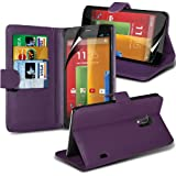 FONE-CASE MOTOROLA MOTO G PU Leather Stand Wallet Case Cover Pouch Holster With Screen Protector Purple