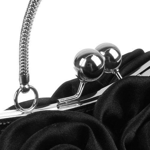 SODIAL(R) Rosette Pochette Soiree Fleur Noire Bourse Sac a Main Banquet Sac