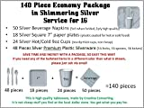 140 Piece Economy Party Supplies Package In Shimmering Silver Color, Has Cutlery, Plates, Cups, Napkins, Forks, Spoons, And Knives. For Weddings, Anniversary, Baby Shower, Birthday, Any Party.