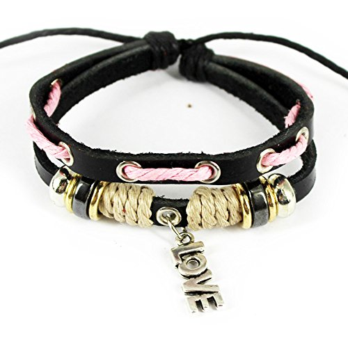 "Wild Wind Unique Metal ""Love"" Pendant Multistrand Leather Adjustable Wrap Bracelet"