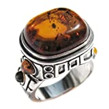 Mens Ring Baltic Honey Amber and Sterling Silver Mayan Design Ring Size 5,6,7,8,9,10,11,12