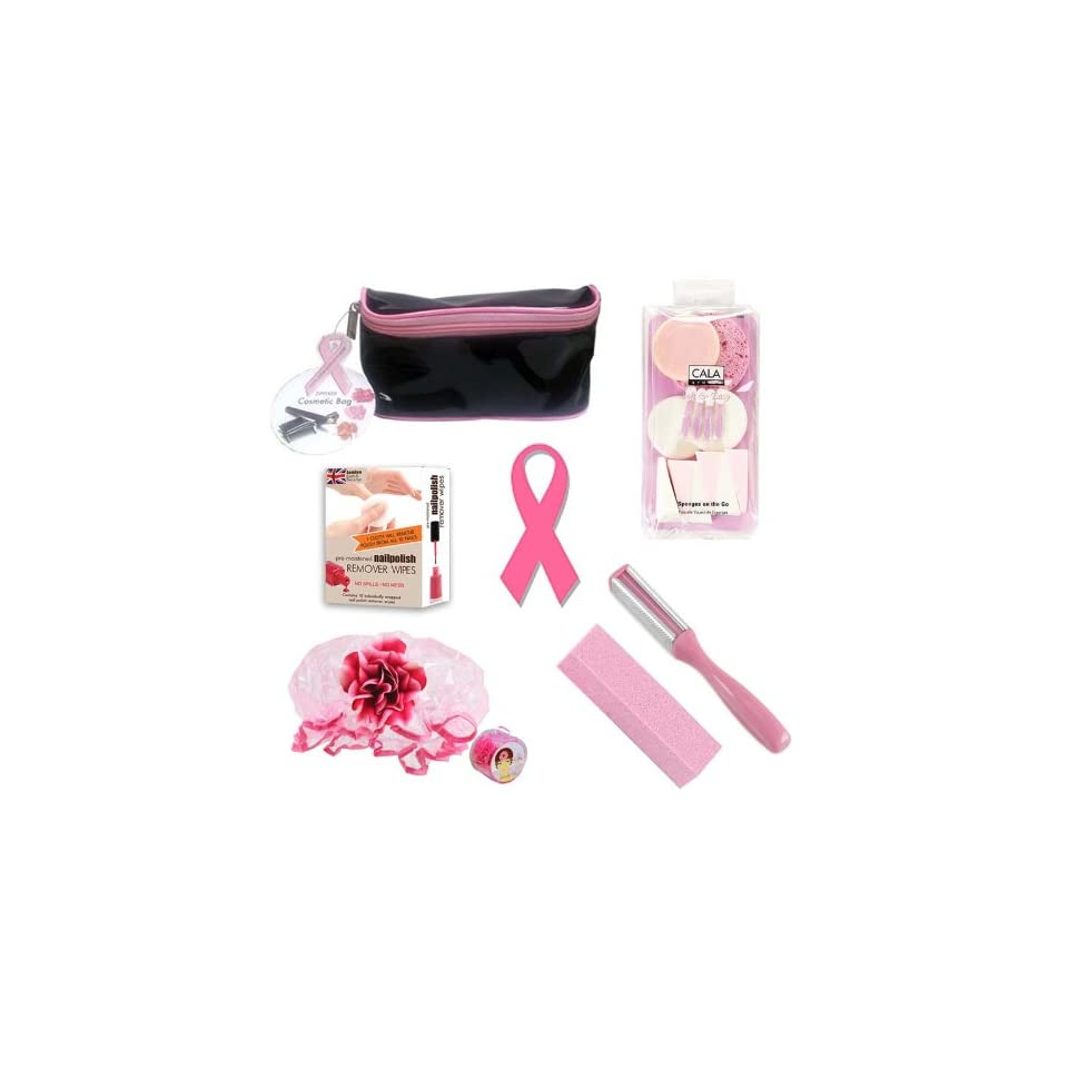 Breast Cancer Awareness Nail Gift Set   Cosmetic Bag, Pedicure Socks, Foot File, Nail Sanding Block, and Polish Remover Wipes   Give Back To The Cause Health & Personal Care