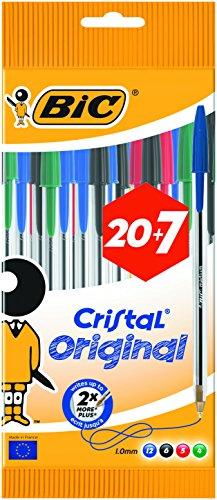 Bic Cristal Stylo-bille 6 Noir 12 Bleu 5 Rouge 4 Vert 20+7...