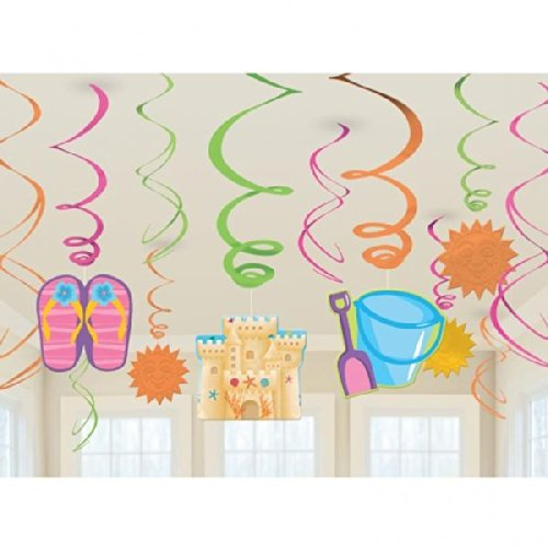Summer Sea Hanging Swirl Decorations (12pc)