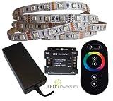 8 Meter RGB LED Streifen Set (60 LED/m, IP20) inkl. Controller, hochwertiger Funkfernbedienung und 10 A Netzteil