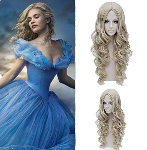 MSHUI Cartoon Movie Cinderella Pretty Ash Long Curly Adult Anime Cosplay Wigs