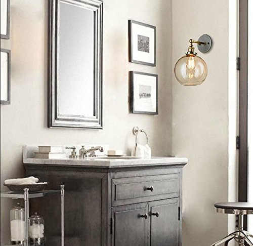 BAYCHEER HL416426 Vintage Industrial Edison Style Finish Round Glass Ball Shape Wall Lamp Vintage Lighting Fixture Lights Wall Sconce 5