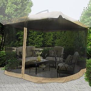 "9x9 Square Feet 79"" H Patio Umbrella Mosquito Net Gazebo Top Replacement Blk Mesh Netting Tan Edge w Zipper Velcro Light Weight for Outdoor Canopy Cover Screen"